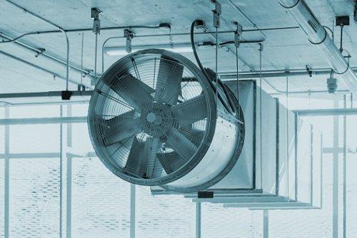 view of fan ventilation system parking lot, Construction work.
