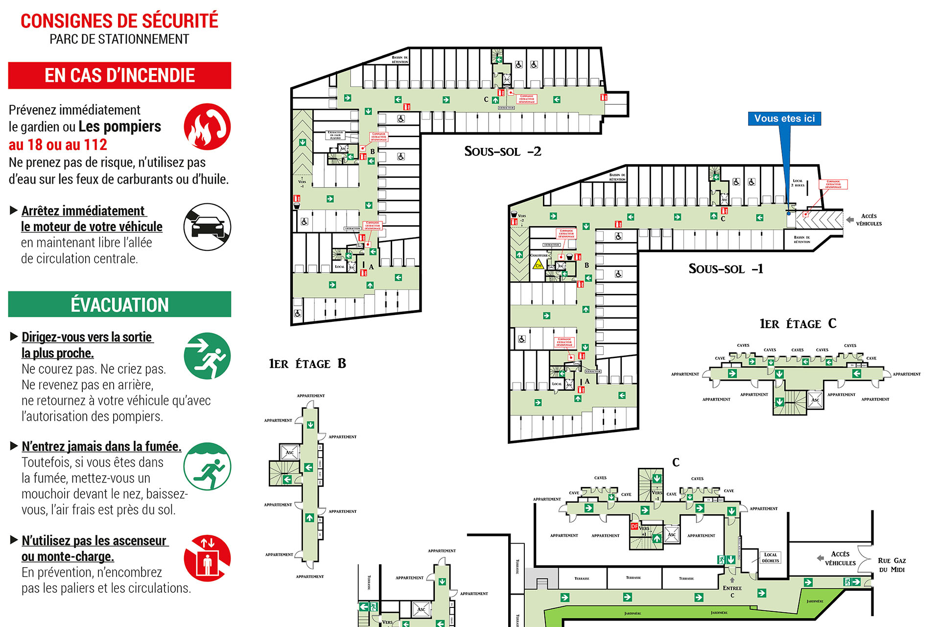 consignes incendie, plan d'évacuation